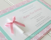 Elegant Shabby Chic 1st Birthday Handmade Invitation with Candle