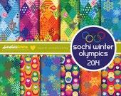 Sochi Winter Olympics Digital Scrapbooking Paper Set - Olympics Digital Scrapbooking Paper Set - COMMERCIAL USE Read Terms Below