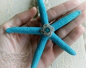 OCEAN DREAM starfish mermaid hair clip in teal blue with crystal center, gift boxed