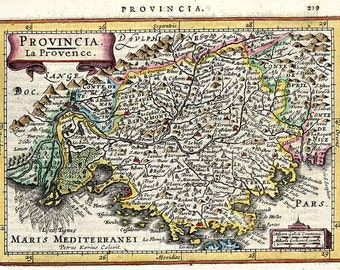Provence 1628. Antique map of Provence, France by J.Jansson - MAP PRINT