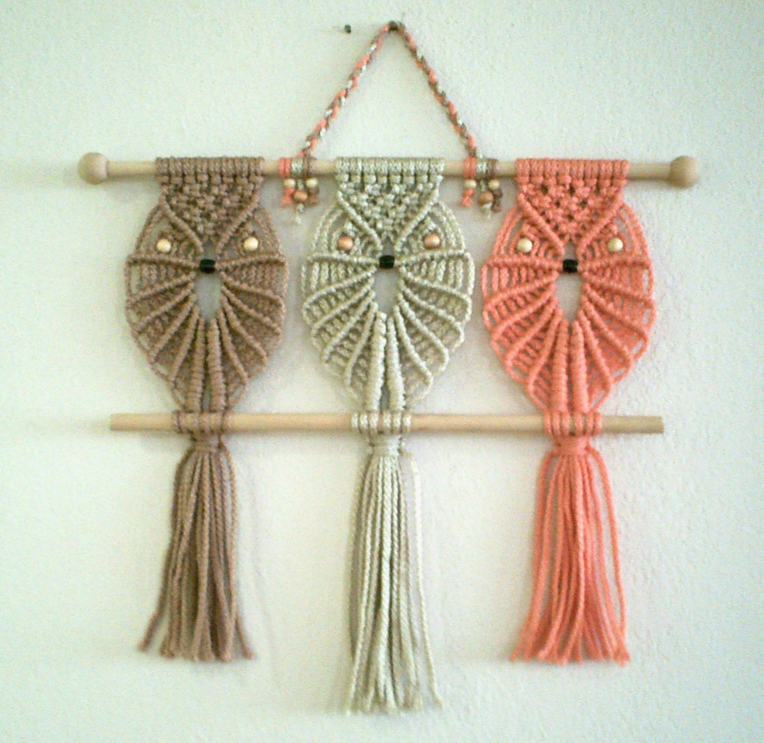 Three owls macrame wall hanging friends macrame home decor for Accessoires decoration