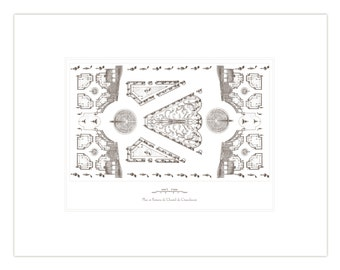 Antique French Garden Plan 8 Horizontal In Sepia & Navy Blue Archival Print