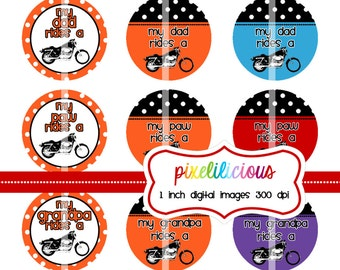 Bottle Cap Image Sheet - Instant Download - Motorcycle Mania -  1 Inch Digital Collage - Buy 2 Get 1 Free