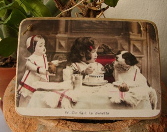 pretty Victorian tea party image on shabby chic wooden tag, with string hanger.