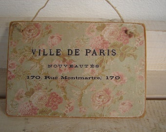 vintage faded pink roses wallpaper image with French design,wooden tag/dresser/door hanger-salvaged wood