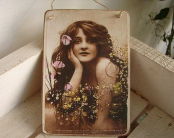 Victorian lady, tinted photo image on shabby chic wooden tag with string hanger.Beautiful girl.