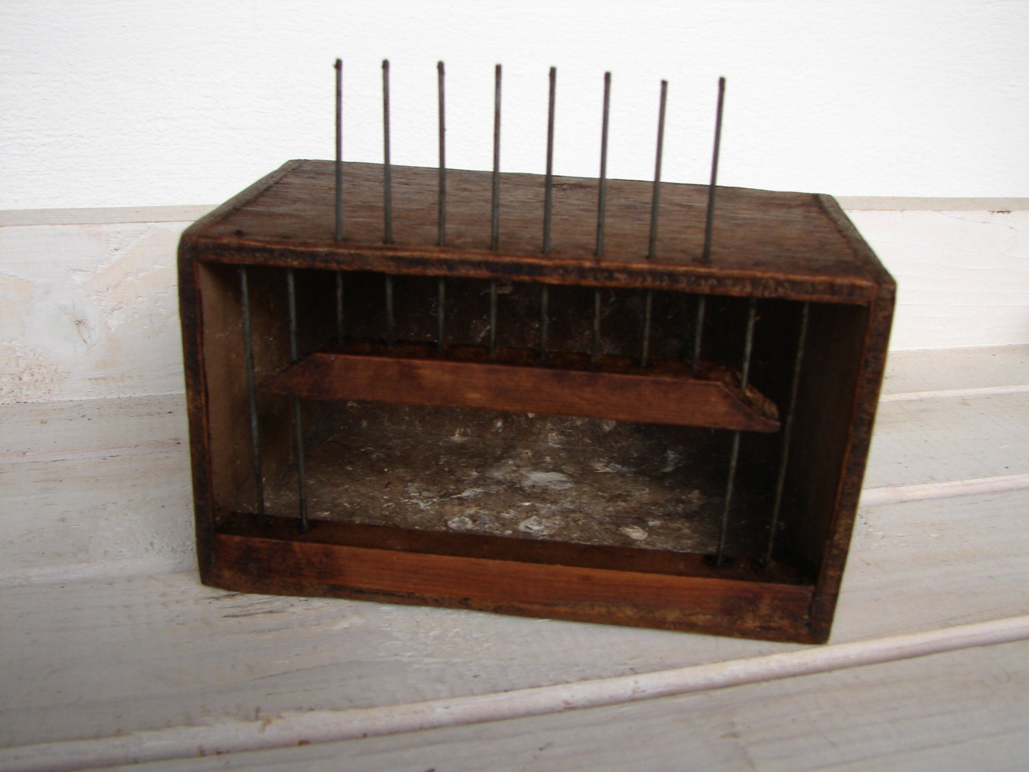 Antique Frenchwood Amp Wire Bird Cage Carrier Transporter