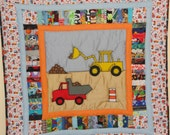 Yellow Digger!  With Dumptruck.  Appliqued Baby Quilt,  Little Boys and Girls love their Diggers.  Bright Yellow Digger with Dirt