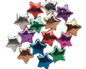 100 Metallic Star Pony Beads