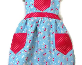 Childrens Apron, Toddler Apron, Cherry Apron, Retro Apron, Girl Apron, Baking Apron, Cooking Apron, Kid Apron, Little Girl Apron