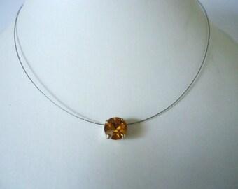Necklace Single Stone Topaz yellow colour Glass Rhinestone Chaton pendant  by JulieDeeleyJewellery on Etsy