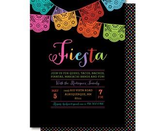 Cinco de Mayo Invitation, Papel Picado Invitations, Mexican Fiesta Party, Printed or Printable