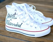 Custom Hand Painted Just Married Converse Sneakers - Optical White Canvas Hi Top Chucks - Painted Just Married Shoes