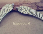 20pcs antique silver Double sided wings Charms pendant 16mmx48mm