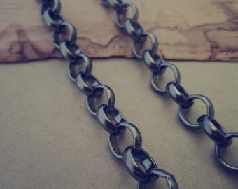 2m(6.5feet) Gunmetal color Round chain 10mm