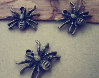 25pcs of Antique bronze spider charm pendant  14mmx19mm