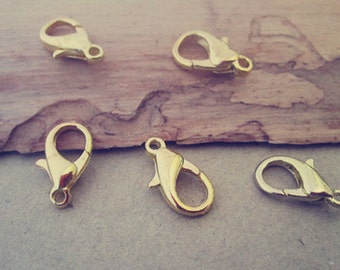50pcs  gold color lobster Clasps 8mmx14mm