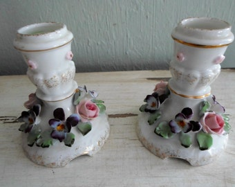 Lefton Exclusives of Japan Porcelain Applied Flowers Candle Holders Cottage Chic