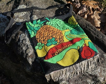 Vintage Beaded Tropical Fruit Purse