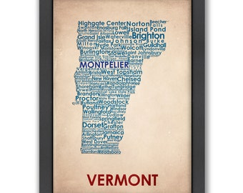 Vermont Word Map, 100% Original Design from Flatiron Design