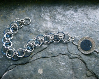 Sagittarius Zodiac Constellation Bracelet Titanium and Sterling Silver Chain Mail