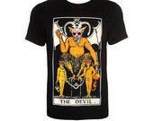 Devil tarot with pink sunglases black tshirt