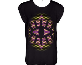 Big black all seeing eye yellow dots and purple symbol in the background  black t shirt scoop neck