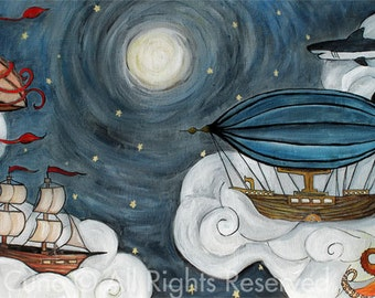 Sky Meets Sea- nautical themed poster print of whimsical original painting 18.5in x 9in