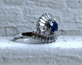RESERVED - Vintage Platinum Diamond and Sapphire Engagement Ring -2.25ct.