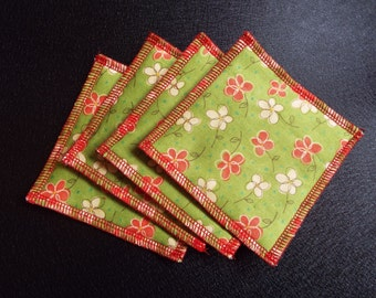Coasters, Fabric Coasters, Trivets, Set of 4, green, flowers, spring