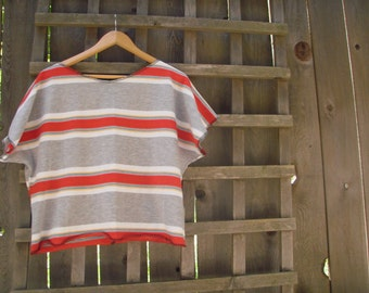 Sporty Retro Striped Crop Top Red Gray White/Eco Upcycled Half Shirt/Casual Midriff Sweat Shirt M/L