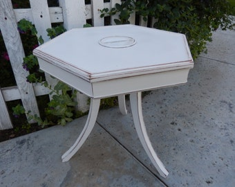 White End Table - White Occasional Table - Painted Nightstand - Shabby Side Table - Vintage Tobacco Table - Octagon Table