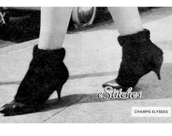 1959 Spats or Shoe Cover for Heeled Shoes, Warmth - Knit pattern PDF 4159