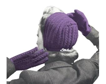 1940s Dutch Bonnet, Gloves and Mittens - 4 Knit Patterns PDF 0956