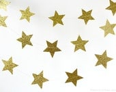Gold Glitter Star 10 ft Circle Paper Garland- Wedding, Birthday, Bridal Shower, Baby Shower, Party Decorations, Christmas, Happy New Year