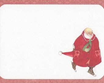 santa on ice skates christmas flat note tag set