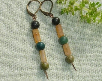 Green and Yellow Gemstone Dangle Earrings - European lever backs