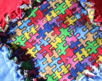 Autism Awareness - Puzzle Pieces Rag Quilt