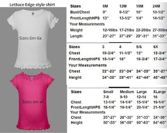 Not for sale, size charts for GIRLS