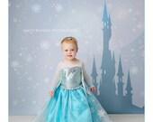 5ft x 5ft + Photography Backdrop - Princess Castle (Fairydust) Blue, Fairytale, Castle