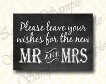 Chalkboard Guestbook Sign, Instant Downoad Printable, Please Leave Your Wishes, Do It Yourself Wedding Decorations - 132
