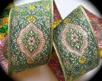 "Woven Jacquard Ribbon - 2 3/8"" x 1 yard  Metallic gold, lt. pink, teal/jade, green and yellow - Beautiful"