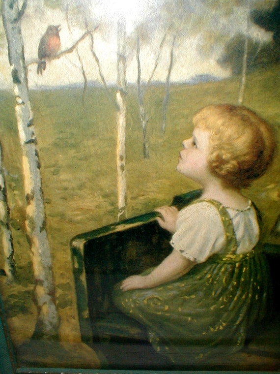 1930s Print Little Girl On Bench Watching Bird Surrounded By