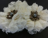 2 Shabby Chic Lace Flowers