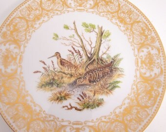 Vintage Bavaria Germany Plate Bareuther Waldsassen Pheasant Hand Painted Gold Scrolling Porcelain Wild Fowl Picture