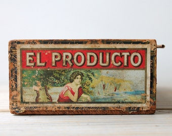 Vintage boho wood box / rustic home decor / red / sage green / eclectic / desk decor / man cave decor / patina / El Producto wood cigar box
