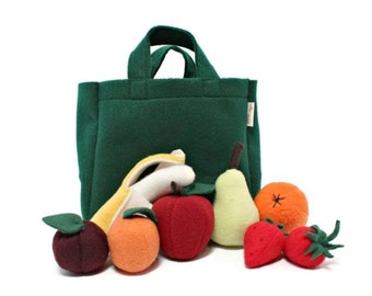 Plush Fruit Set - Apple, Orange, Banana, Pear, Plum, Apricot & Strawberries