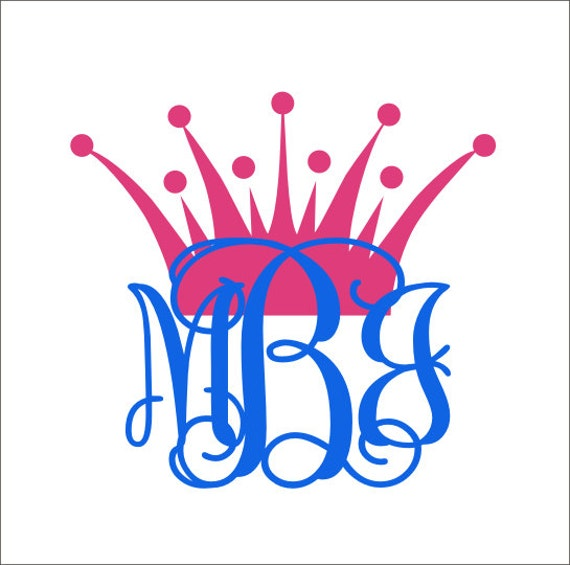 Princess Crown Monogram Vinyl Decal Car Decal Car Window Decal - Monogram decal on car
