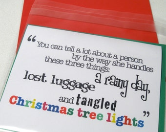 Christmas Card - Friendship Greeting - Tree Lights - Friend - Patience - Lost Luggage - Rainy Day - Girlfriend Maya Angelou Quote - MAN101