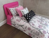 Doll Bedding for 18 inch doll bed Pillows White Pink Paris Bedspread Free US Shipping